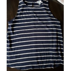 Old Navy XL Knit Tank - Navy Blue and White